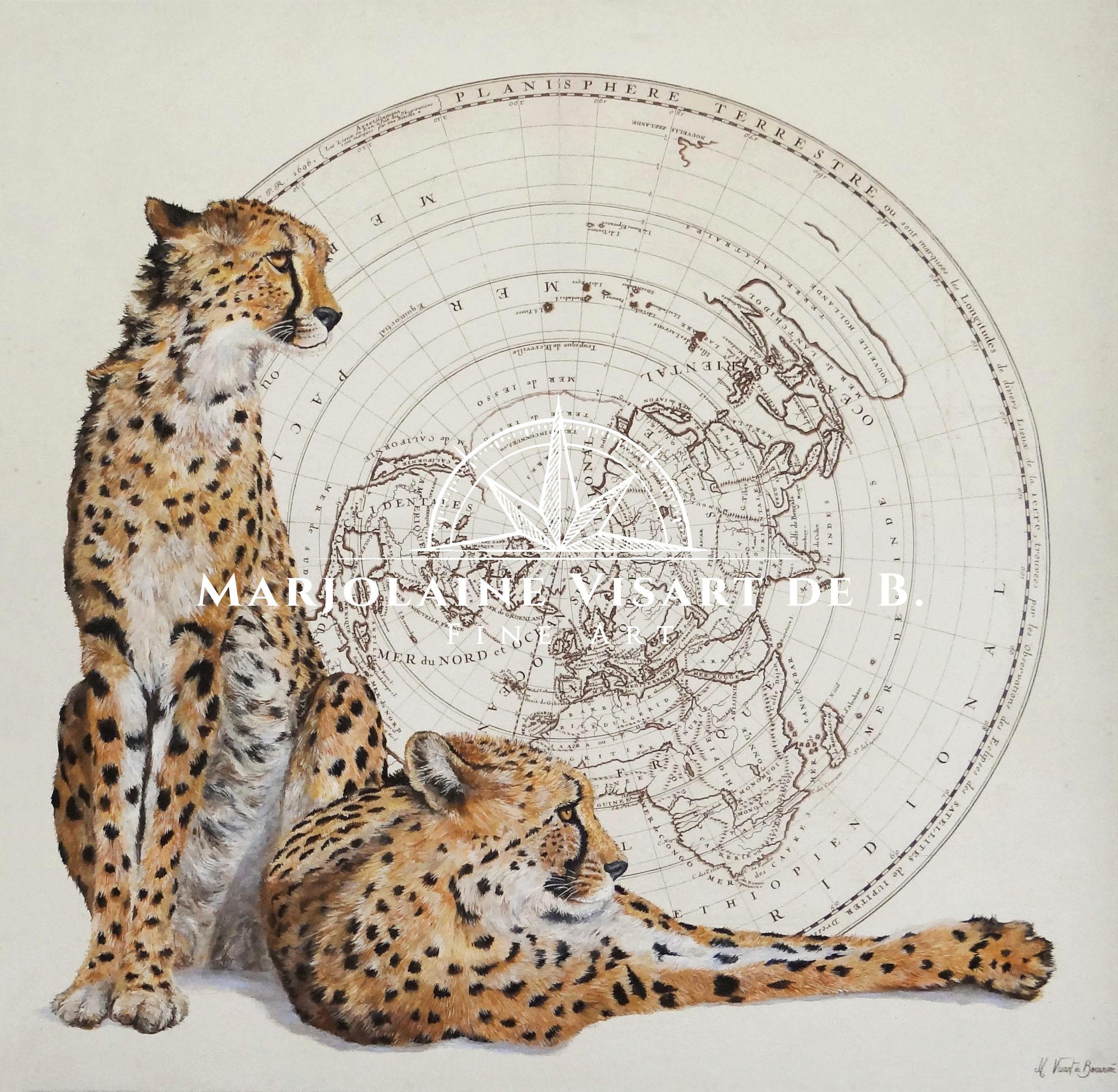 guépards, 110 cm x 110 cm