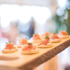 _Thin layered blini with smoked salmon..