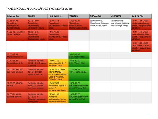 Kevään 2019 LUKUJÄRJESTYS on julkaistu! Tunnit alkavat Oulussa viikolla 2 (kilparyhmät) ja viikolla