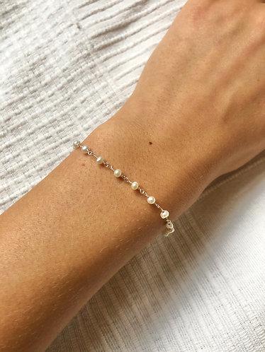 Sterling sølv armbånd med perler