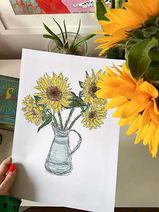 The Sunflower Print | PALM FLARES WALL ART