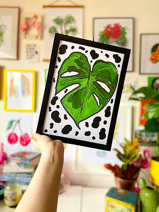 The Swiss Cheese Plant and Dalmatian Print | PALM FLARES WALL ART