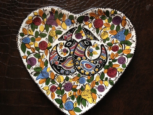 Heart plate with love birds