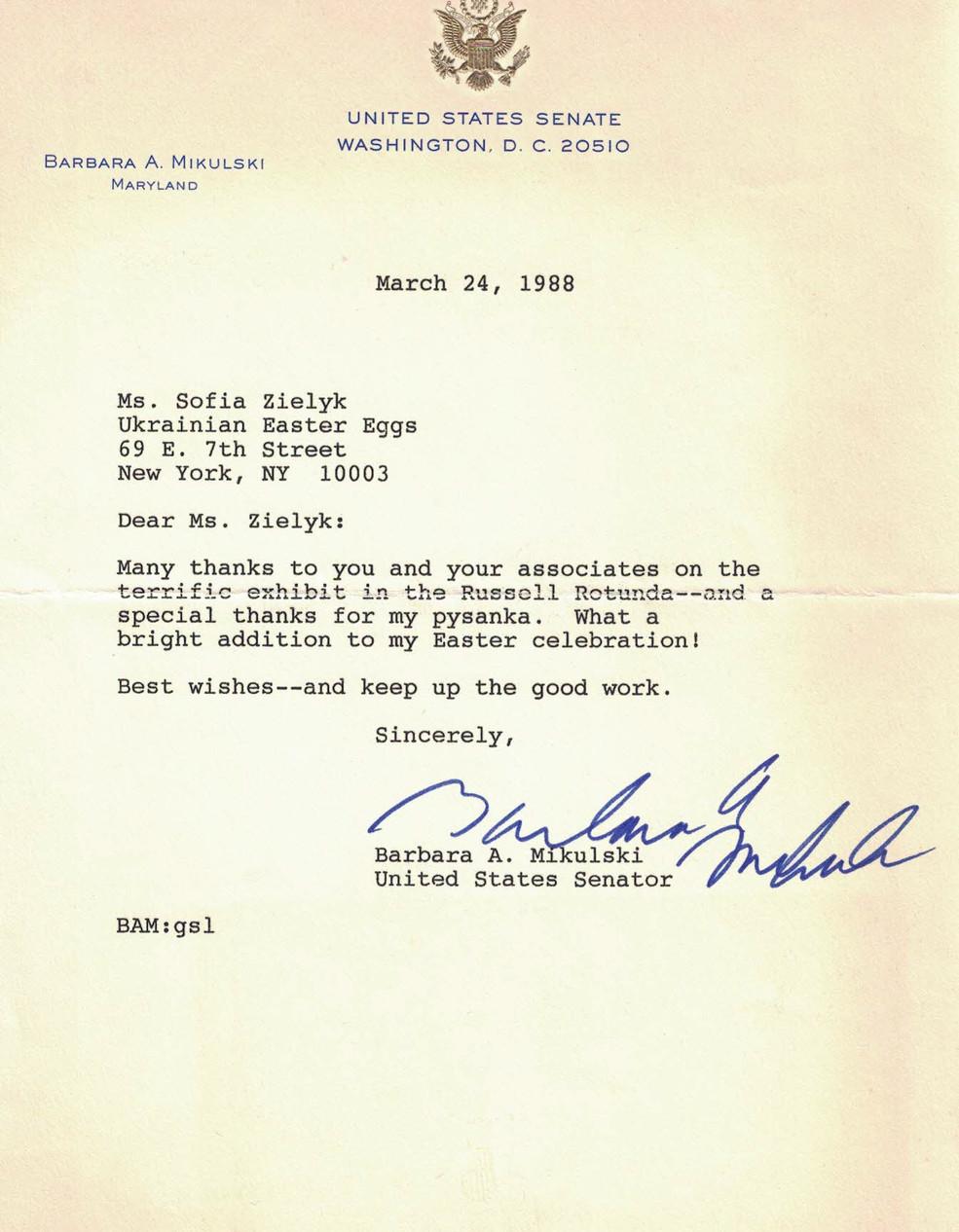Thank-you note  from  Senator Barbara A. Mikulski of Maryland