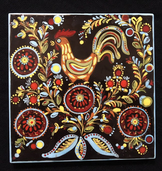 Tile with rooster