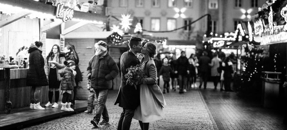 Hochzeitsfoto im Winter