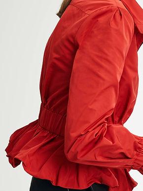 Zip Front Ruffle Hem Jacket