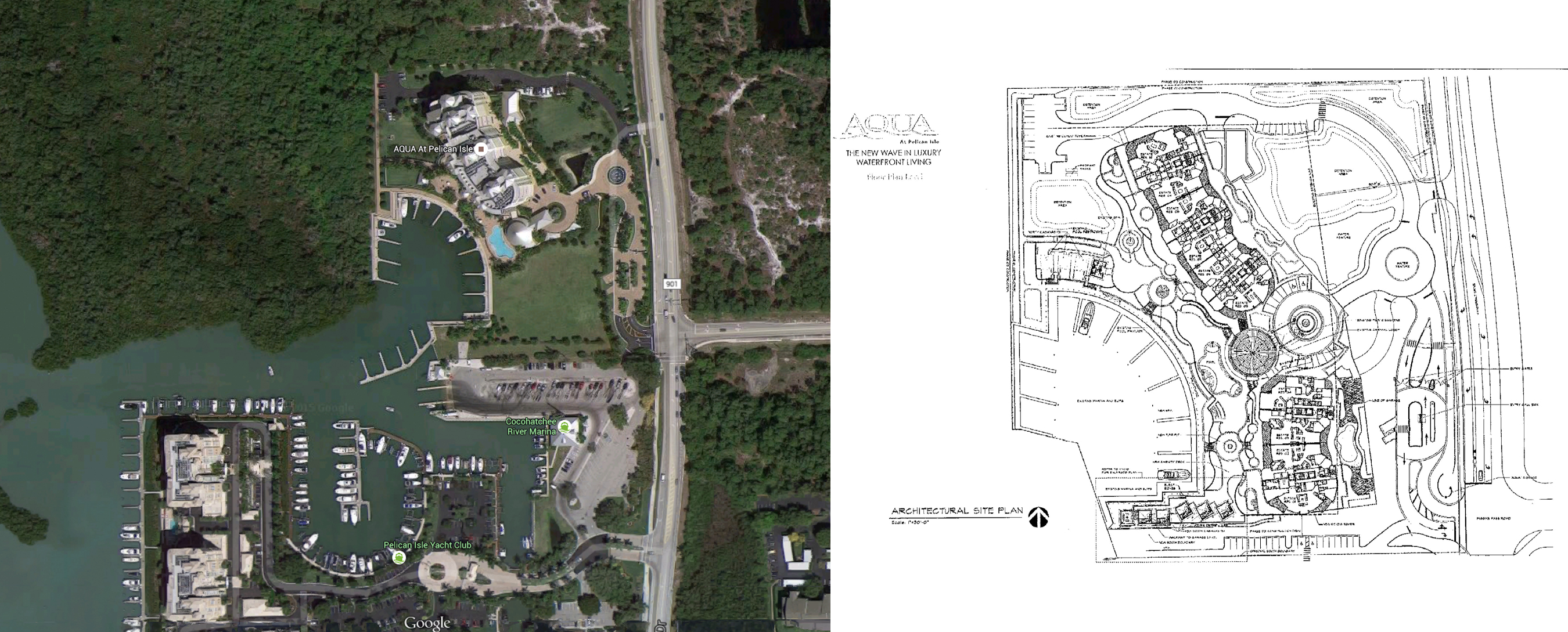 Google Earth aerial and site plan