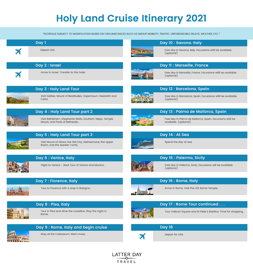 LatterDayTravel Itinerary Graphic Holy L