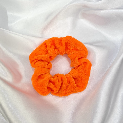 Bright Orange Velvet Scrunchie