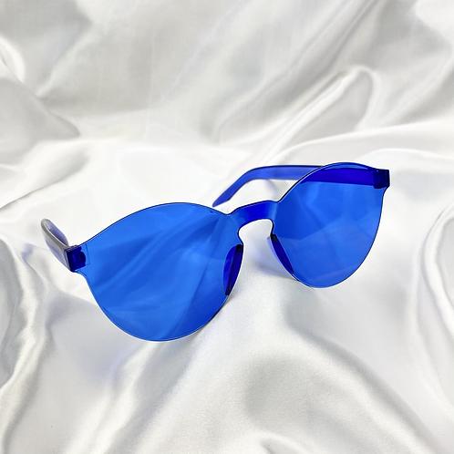 Blue Round Frameless Sunglasses