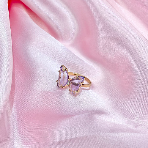 Light Purple Clear Rhinestone Butterfly Ring