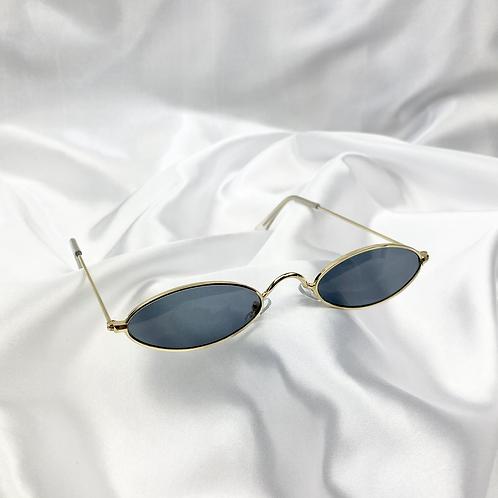 Black Grey Retro Oval Sunglasses