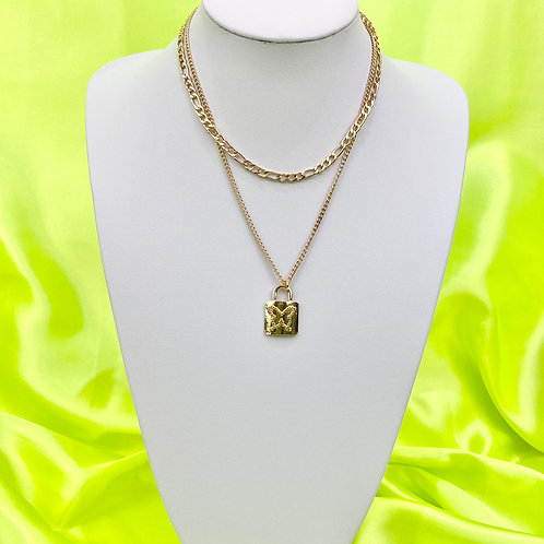 Gold Butterfly Padlock Layered Necklace