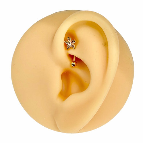 Gold CZ Flower Curved Barbell