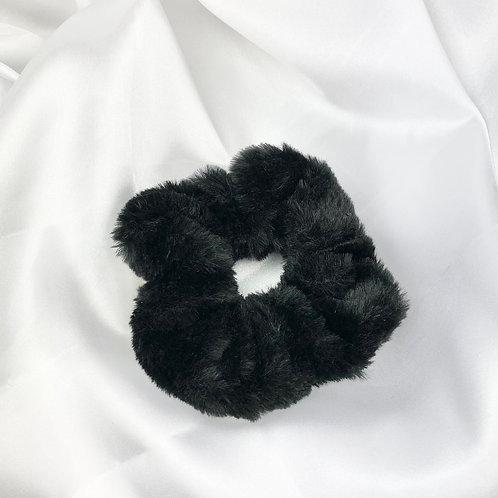 Black Fur Scrunchie