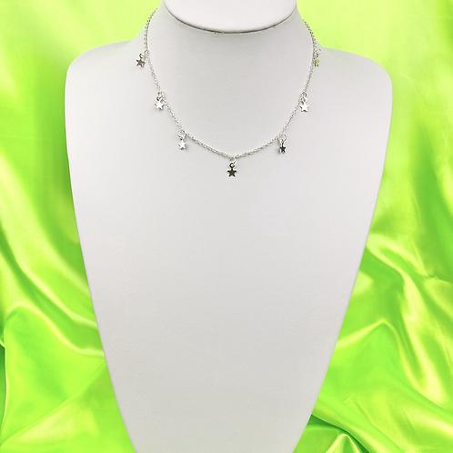 Silver Dainty Star Choker Necklace