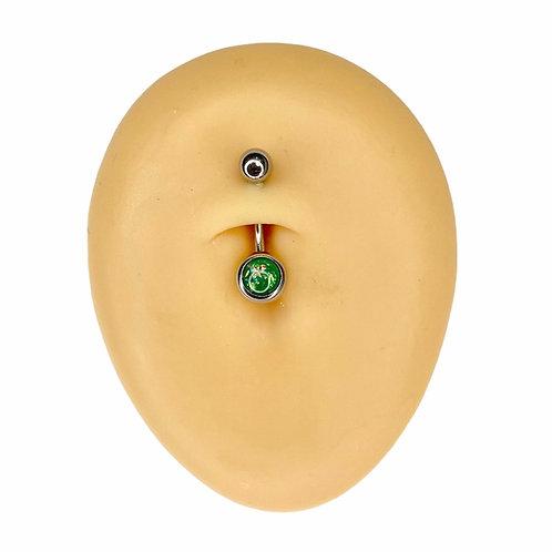 Green Opal Glitter Belly Bar