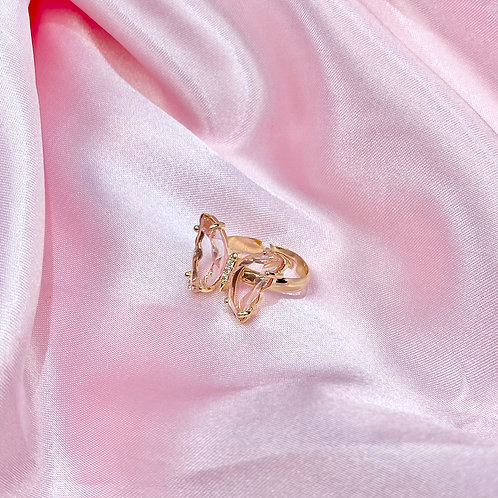 Pink Clear Rhinestone Butterfly Ring