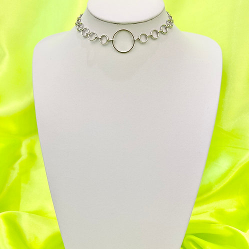 Silver Circle Chain Choker Necklace