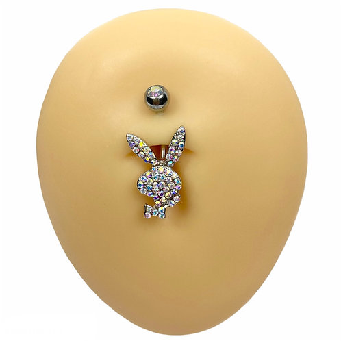 Silver AB Crystal Paved Playboy Belly Bar