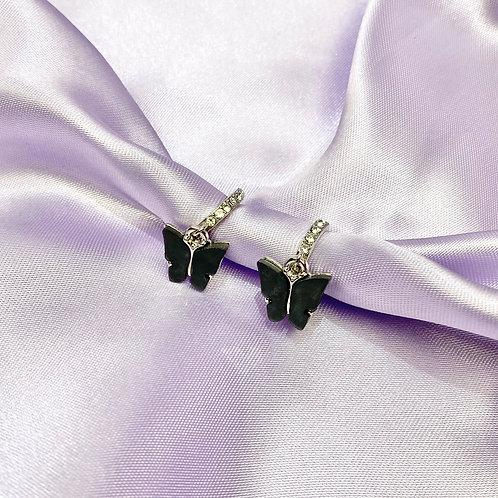 Black Rhinestone Butterfly Hoop Earrings