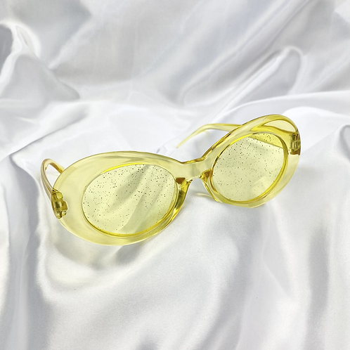 Yellow Clear Glitter Clout Goggle Sunglasses