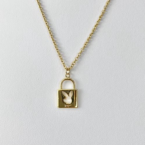 Gold Playboy Padlock Necklace