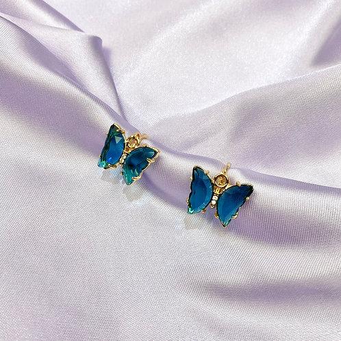 Blue Clear Rhinestone Butterfly Earrings