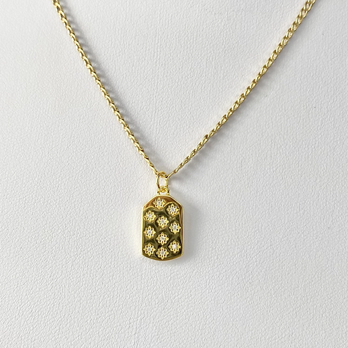 Gold CZ Stars Tag Necklace