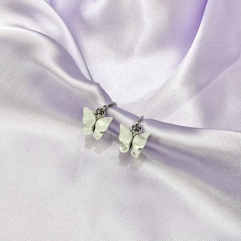 White Butterfly Hoop Earrings