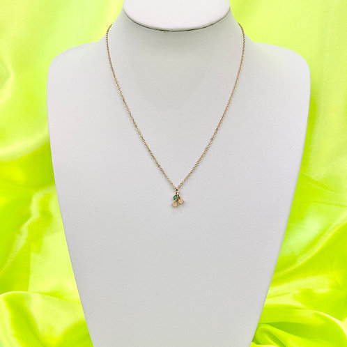Gold Dainty Rhinestone Gem Cherry Necklace