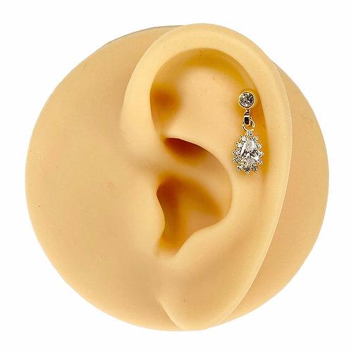 Gold Clear CZ Tear Drop Dangle Barbell Stud