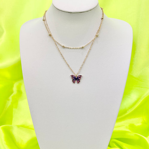 Purple Butterfly Print Layered Necklace