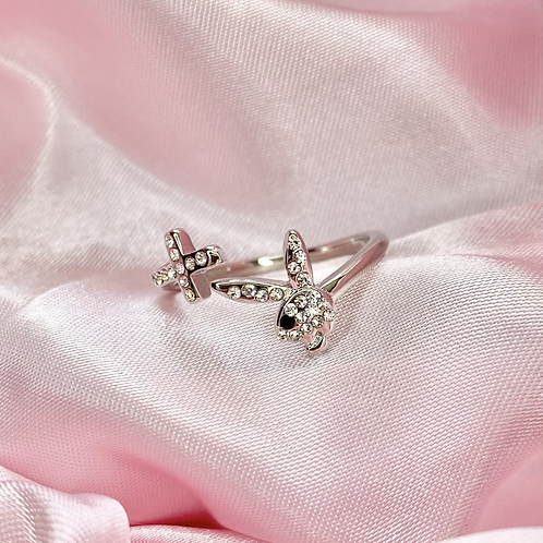 Silver Crystal Playboy Cross Ring