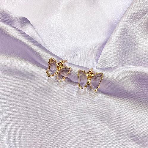 Clear Rhinestone Butterfly Earrings