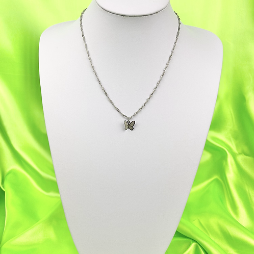 Silver Dainty Butterfly Necklace
