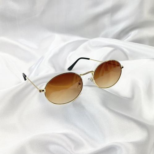 Bronze Wide Oval Sunglasses