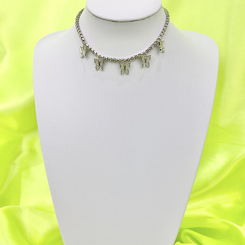 Silver Butterfly Bling Tennis Choker Necklace