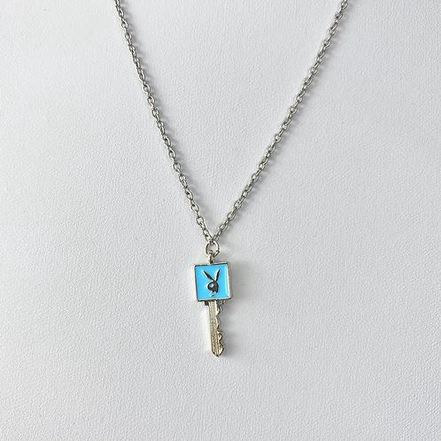 Blue Enamel Playboy Key Necklace
