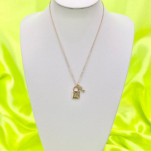 Gold Rhinestone Padlock & Key Necklace
