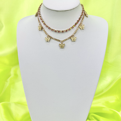 Pink Butterfly Layered Tennis Necklace