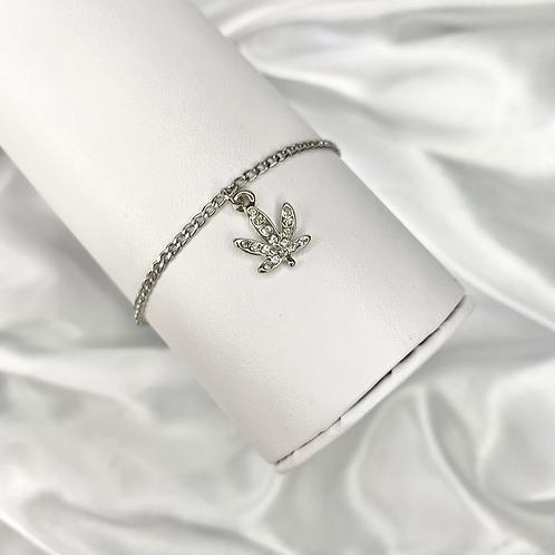 Silver Crystal Paved Weed Bracelet