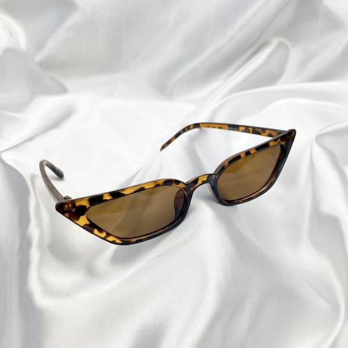 Tortoseshell Clear Slim Rectangle Cat Eye Sunglasses