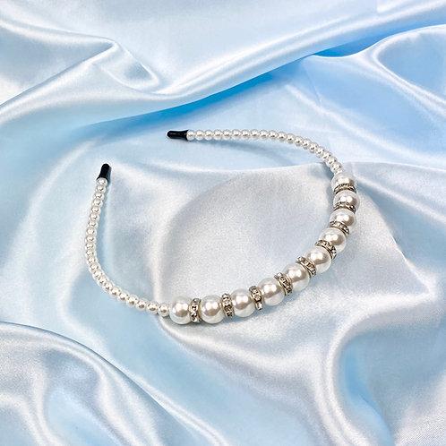 Silver Pearl & Rhinestone Headband