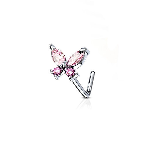 Pink Cubic Zirconia Butterfly Nose Stud