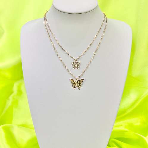 Gold Layered Butterfly Necklace