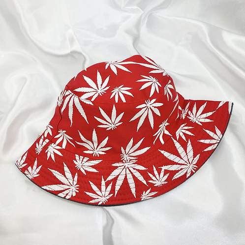 Red & White Weed Leaf Bucket Hat