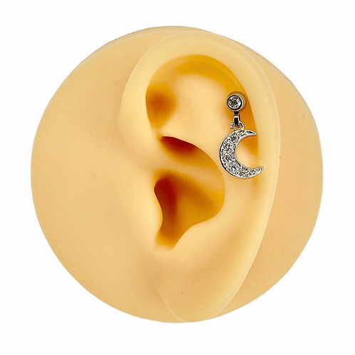 Silver Dangle CZ Paved Crescent Moon Barbell Stud