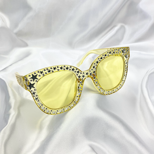 Yellow Clear Star Square Sunglasses